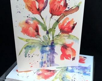 Tulips in a Jar Original Watercolor PRINT Note Card Set, Watercolor Cards, Spring Flower  Cards, Watercolor Tulip Cards, Tulip Cards