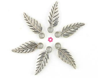 x 50 (287D) 18x6.5mm silver feather charm