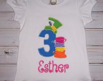 Number with Teacups Applique Alice Ruffle T-shirt with or without monogram option -  Very Merry Unbirthday shirt - Wonderland
