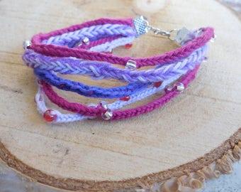 pink shades boho lucet bracelet