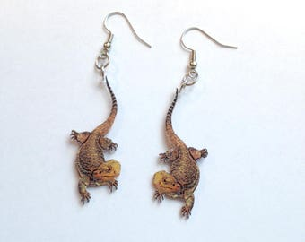 Bearded Dragon Earrings Handcrafted Plastic Jewelry Accessories Fashion Novelty Unique Gift Gifts for Her