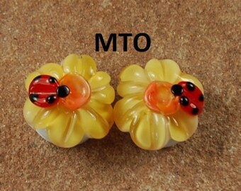Lampwork Beads, Glass Beads, Made To Order, Ladybug, Golden Flower, Earring Beads SRA #115 by CC Design