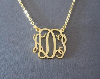 Personalized Gold Monogram Necklace - 3 Pendant Sizes - Monogram Jewelry - Custom Monogram Necklace - Initial Necklace - Monogrammed Gifts