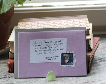 Believe there is a great power... Beatrix Potter Pale lilac card with handwritten quote and Swedish owl postal stamp