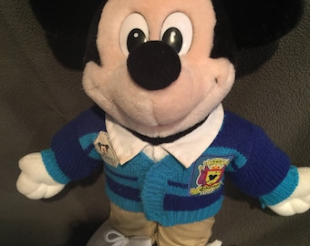 MICKEY Mouse Vint. DISNEY Store Plush CLUBHOUSE Mickey..Blue Striped Sweater.M.M. Face on patch,1 side says: Disney Store. Can Stand alone.