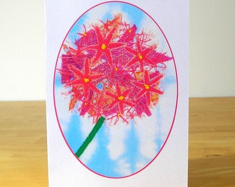 Allium Pink Flower Card, Recycled Greetings Card, Eco Friendly Card, Floral Card, Art Card