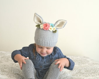 MADE TO ORDER- Flower Hat  - Bunny Flower Crown Knit Hat - Bunny Hat - Newborn to 3 Months - 3-6 Months - 6-12 Months - 12 - 18 Months  Todd