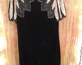 Stenay vintage black and white beaded dress. Fabulous!