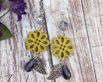Yellow Wood Flower Earrings with Purple Accents
