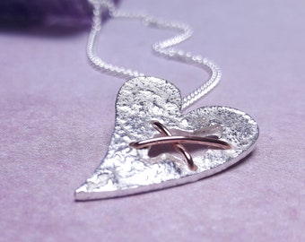 Sterling Silver Torn Heart Necklace, Heart with Hole Pendant, Tortured Heart, Broken Heart, Stitched Up Heart Necklace