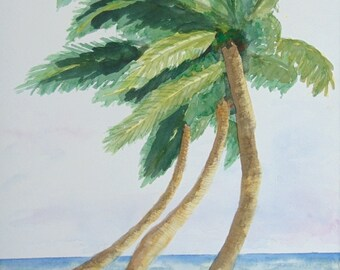 Beach Watercolor Painting, Three Palm Trees, 11x14, a Nan Henke original