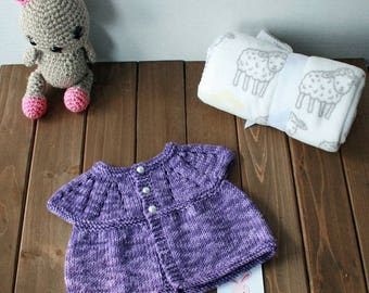 Hand Knit Baby Sweater, Newborn - 3 Months, Ready to Ship