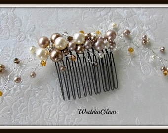 Bridal Hair Comb, Fall Wedding Hair Accessories, Fall color comb, Rhinestones, Brown vines comb, Ivory Elegant Headpiece, Champagne comb