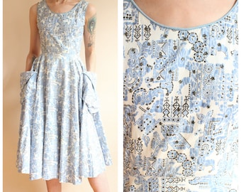 1950s Dress // Indian Print Cotton Dress // vintage 50s dress