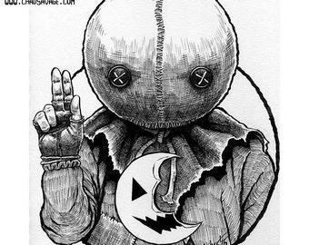Halloween Saints: Sam Original Ink Art by Chad Savage