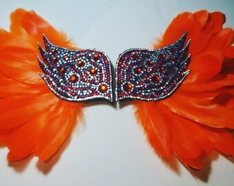 Tropic Flame! Braslets Black wings with orange feathers