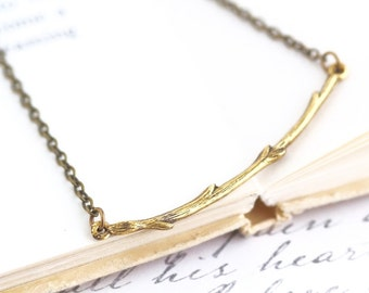Gold Branch Necklace - Bar Necklace - Branch Pendant - Simple Jewelry - Nature Jewelry - Golden Branch - Gold Twig - Girlfriend Gift -