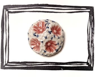 Rose/dark Blue Ceramic Brooch