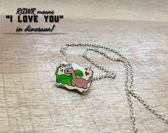 Dinosaur Gifts - Rawr Means I Love You in Dinosaur  - Dinosaur Charm Necklace hand drawn doodle drawing charm