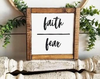 Faith Over Fear   Farmhouse Sign   Farmhouse Decor   Rustic Sign   Rustic Decor   Faith Sign   Modern Farmhouse   Gallery Wall Decor   Sign