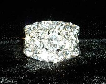 Style # 13101 Fancy Block Adjustable Rhinestone Ring