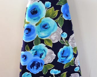 Ironing Board Cover - shades of blue washed out large flowers on navy background