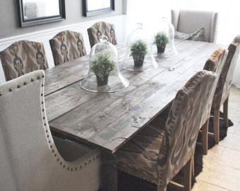 Black And Espresso Farmhouse / Reclaimed Wood Plank Style Dining Room Table