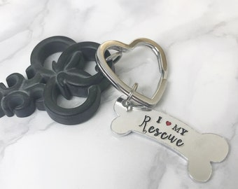 I Love My Rescue Key Ring | Gift For Dog Lover | Rescue Dog Owner Key Ring | Dog Lover Key Ring  | Gift Idea For Dog Lover