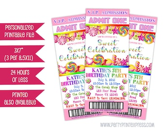 Printable Candy Admission Ticket Invitations - Pink Candy Birthday Party - Candy Party Invitation  - Candy Invite - Girl Candy - Rainbow