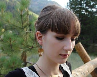 Hammered Brass Necklace with gemstones