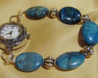 Gorgeous with Jeans this Interchangeable Bracelet Watch Band has Blue Jasper