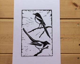 Two magpies lino print - unframed