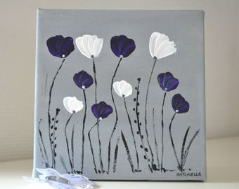 Abstract modern painting poppies, romantic painting, modern painting purple, grey, size 20 x 20.