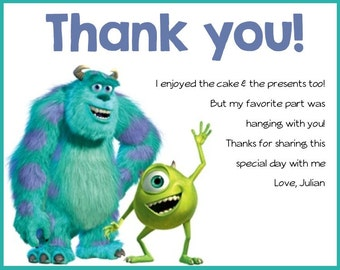 Monsters Inc- Birthday Party Thank you Card