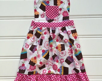 Cupcake Apron for Child, Kid Apron, Toddler Apron, Little Girl Apron, Child Apron, Kids Cooking Apron, Cooking School, Pink Apron
