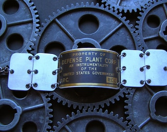 "Upcycled Machine Tag Found Object ""Defense Plant"" Bracelet"