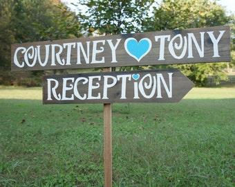 Wedding Sign, Wedding Signage,Wedding Reception Decorations, Wedding Reception Sign, Outdoor Wedding Sign, Outdoor Wedding Decor, Arrow Sign