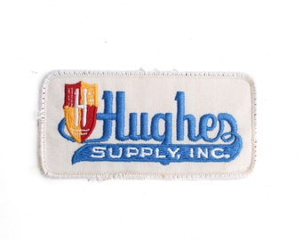 """Vintage Hughes Plumbing Supply Inc Hardware Stores DIY Home Repair Supply Embroidered Patch 4.75"""" x 2.25"""""""