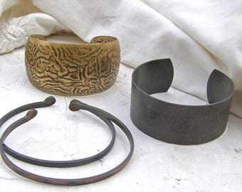 Brass Cuff Bracelet Lot, Cuff Base, Jewelry making Supplies, Ready to Wear or Embellish, Skinny Cuff Base
