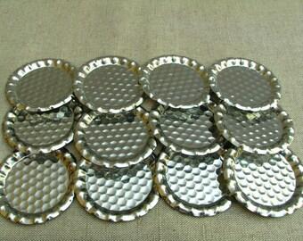 Vintage Set of 12 Little Metal Plates for Glasses for Wine Glasses 1970s