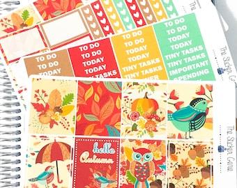 Hello Autumn Weekly Kit | Planner Stickers, Weekly Kit, fall weekly kit, Vertical Planner Kit, autumn weekly kit, leaves weekly kit, pumpkin