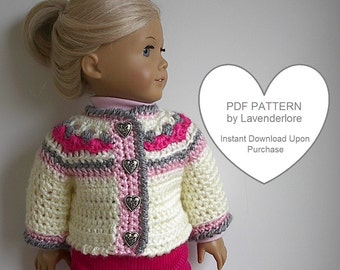Crochet Pattern by Lavenderlore for Icelandic Style Sweater Jacket that fits 18 Inch Dolls - PDF Download Permission to Sell Finished Item