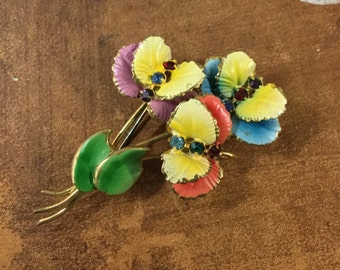 Colourful Rhinestone Hand Painted Enamel Floral Flower Brooch Pin Unsigned Yellow Green Blue Pink Mauve Pansy Violet Green Leaf 1940's 1950s