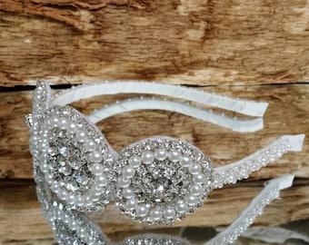 Three's A Party Pearl Bridal Headpiece; Vintage Art Deco Style Wedding Headband; Jeweled Homecoming/Prom Headband; Designer Bride