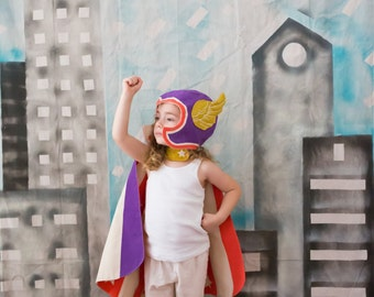 Flying Super Hero Costume - Purple Cape & Wing Hat - Superhero Gift Girl - Purple Reversible Cape - Gift for Girls - Wonder Woman - Avengers