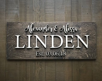 Custom Wood Sign / Last Name Sign / Home Sign / Established Sign /  Personalized Wedding gift / Wedding Sign / 3D Sign / Family Name Sign
