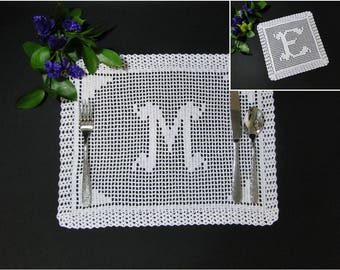 Monogram Placemat and Doily Crochet Pattern #702 - Monogram Placemat Crochet Pattern - Monogram Doily Crochet Pattern - Instant Download PDF