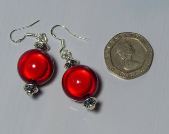 Ruby Red/Pillar Box Red Miracle bead/Glow bead earrings