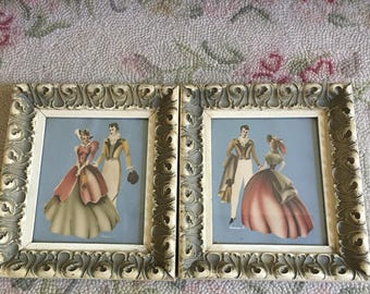 Turner Prints 1940's ~ Old Chippy Frames ~ Antique Pictures Man and Lady ~ Pastel chalk prints ~ Old Pictures ~ Home Decor ~ Wall Decor