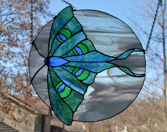 Stained glass luna moth suncatcher, green, blue 12.5 x 13